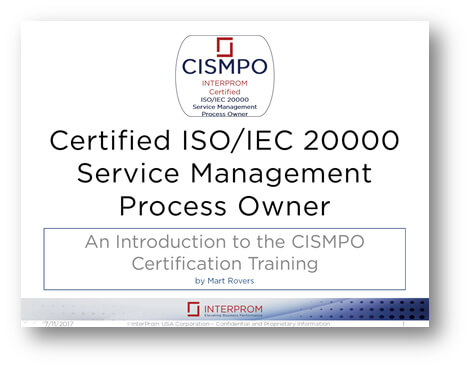 Certified ISO IEC 20000 Service Management Process Owner
