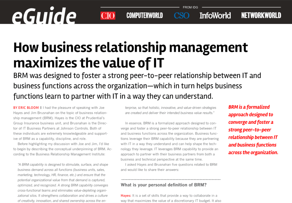 How Business Relationship Management Maximizes the Value of IT