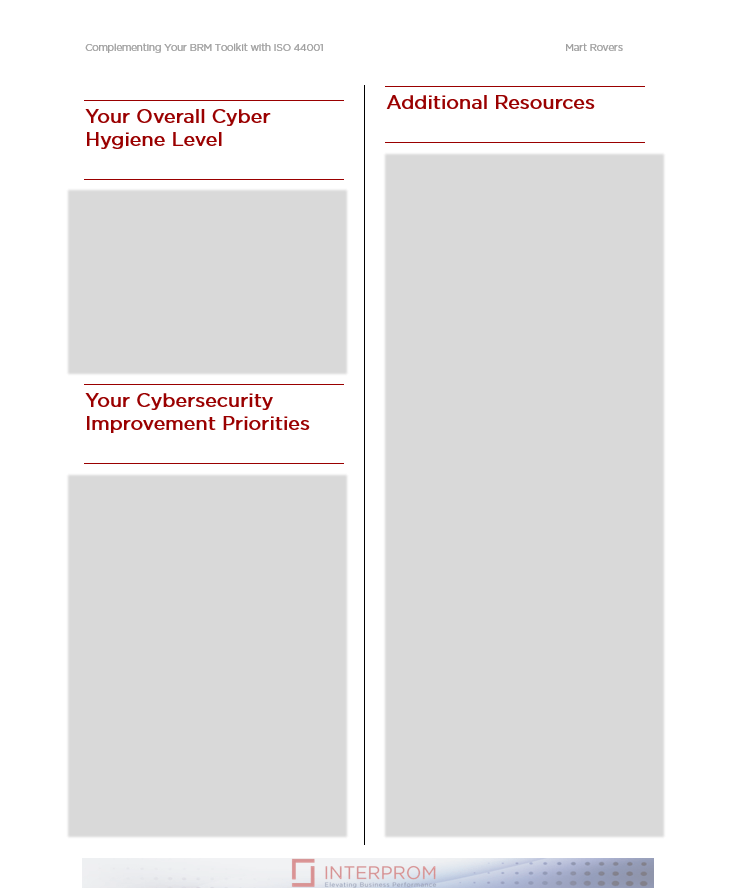 Your cybersecurity self-assessment report
